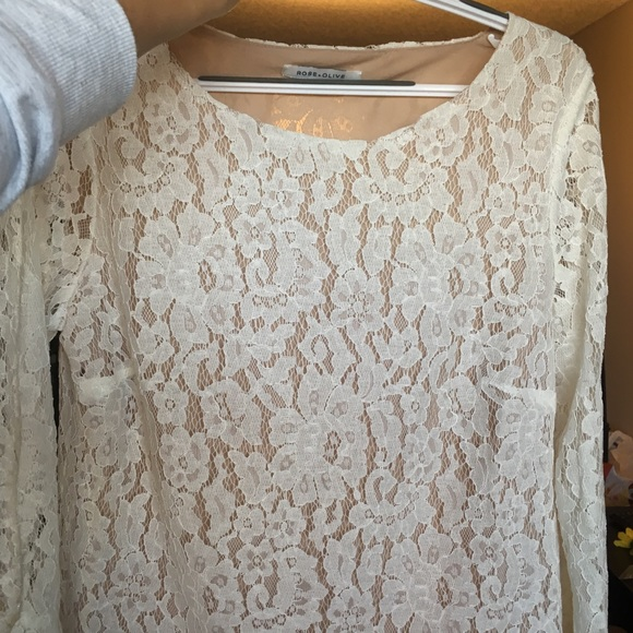 396943a0341b86 Rose & Olive Tops | Rose Olive Lace Bell Sleeve Blouse Cream Nude ...